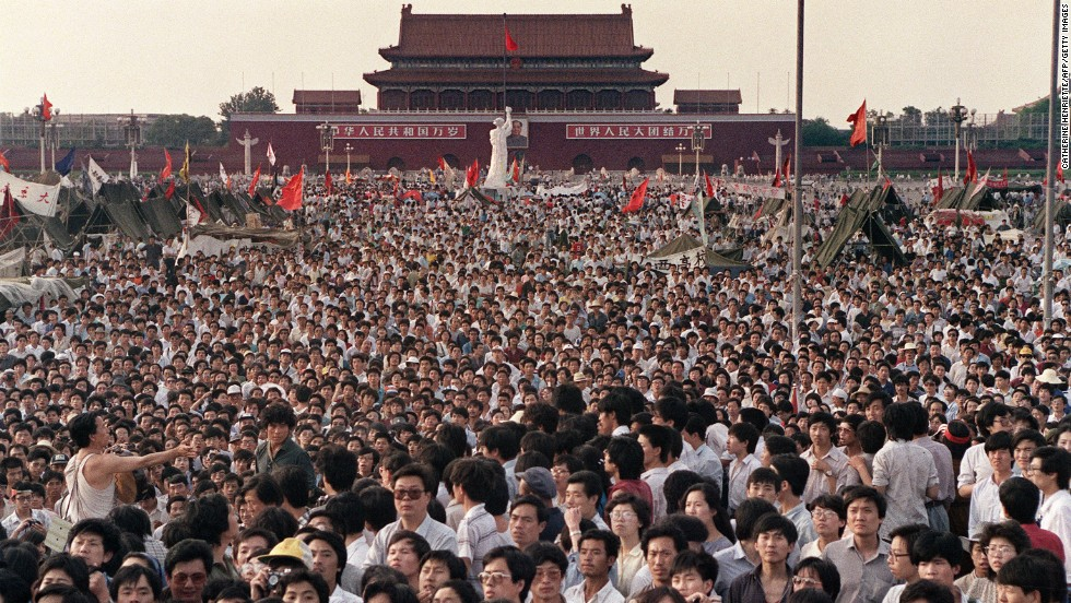 Concentración en la Plaza Tiananmen el 2 de junio de 1989. Ph. Getty/AFP